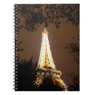 Paris, France - Eiffel Tower at Night Notebook