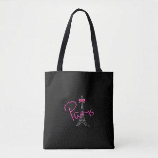 Paris, France, Eiffel Tower, Black Tote Bag