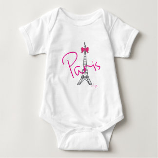 Paris France, Eiffel Tower, Bow, Cute Baby Bodysuit