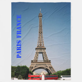 Paris France Eiffel Tower Fleece Blanket, Large