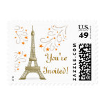Paris France Eiffel Tower Frestive Scroll on White Postage Stamp