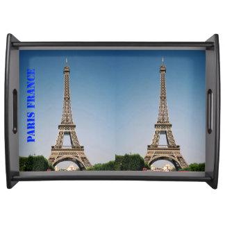Paris France Eiffel Tower Large Serving Tray Black