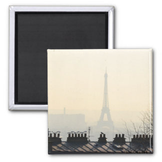 Paris France Eiffel tower on a foggy day 2 Inch Square Magnet