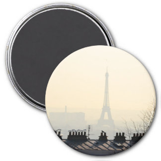 Paris France Eiffel tower on a foggy day 3 Inch Round Magnet
