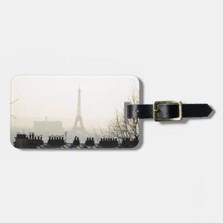 Paris France Eiffel tower on a foggy day Bag Tag