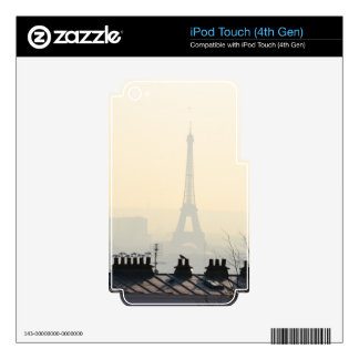 Paris France Eiffel tower on a foggy day iPod Touch 4G Decal