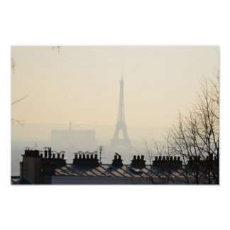 Paris France Eiffel tower on a foggy day Poster