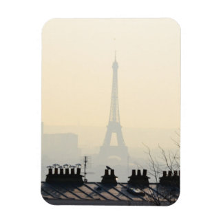 Paris France Eiffel tower on a foggy day Rectangular Photo Magnet