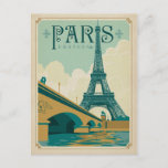 """Paris France - Eiffel Tower Postcard<br><div class=""""desc"""">Anderson Design Group is an award-winning illustration and design firm in Nashville,  Tennessee. Founder Joel Anderson directs a team of talented artists to create original poster art that looks like classic vintage advertising prints from the 1920s to the 1960s.</div>"""