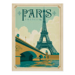 Paris France - Eiffel Tower Postcard<br><div class='desc'>Anderson Design Group is an award-winning illustration and design firm in Nashville,  Tennessee. Founder Joel Anderson directs a team of talented artists to create original poster art that looks like classic vintage advertising prints from the 1920s to the 1960s.</div>