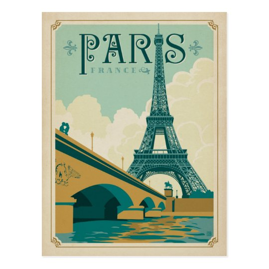 paris france eiffel tower postcard. Black Bedroom Furniture Sets. Home Design Ideas