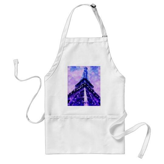Paris France Eiffel Tower purple Adult Apron