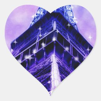 Paris France Eiffel Tower purple Heart Sticker
