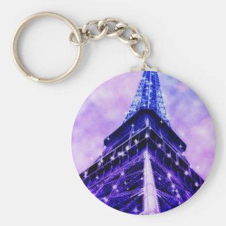Paris France Eiffel Tower purple Keychain
