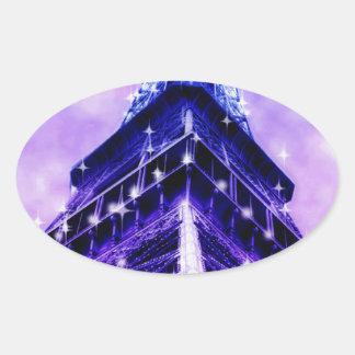 Paris France Eiffel Tower purple Oval Sticker