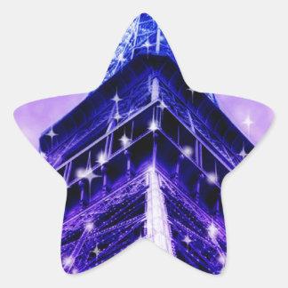 Paris France Eiffel Tower purple Star Sticker