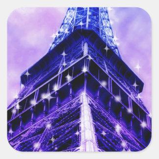 Paris France Eiffel Tower purple Square Sticker