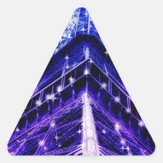 Paris France Eiffel Tower purple Triangle Sticker