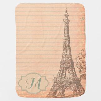 Paris France Eiffel Tower Shabby Chic Baby Blanket