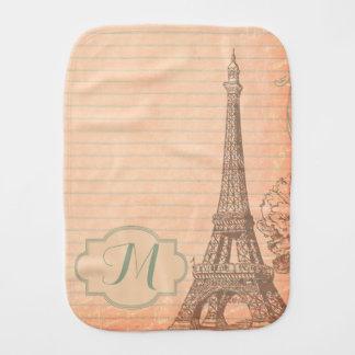 Paris France Eiffel Tower Shabby Chic Burp Cloth