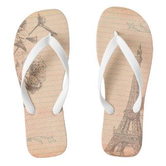 Paris France Eiffel Tower Shabby Flip Flop Sandals Flip Flops
