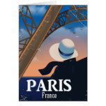 Paris France Eiffel tower travel poster Card