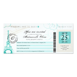 Paris France Eiffel Tower Vintage Boarding Pass Card