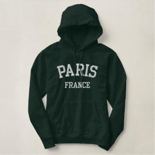 Paris France Embroidered Hoodie