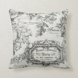 Paris France Floral Throw Pillow