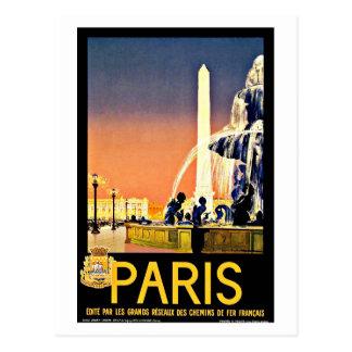 Paris France Fountain Vintage Travel Postcard