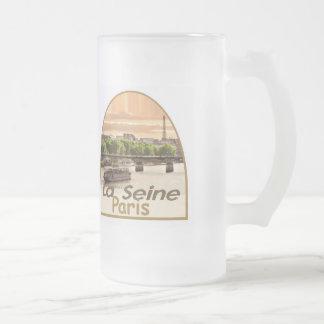 PARIS France Frosted Glass Beer Mug