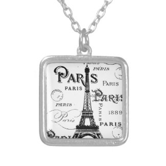 Paris France Gifts and Souvenirs Square Pendant Necklace