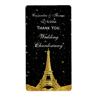 Paris France Golden Skyline #1 Stars Wine Label TY Shipping Label