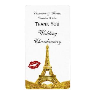 Paris France Golden Skyline Kiss #1 Wine Label TY Shipping Label