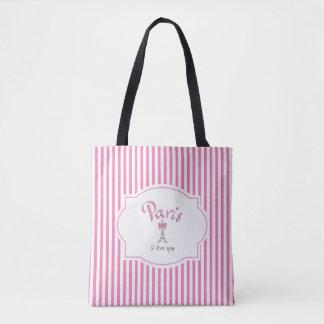 Paris, France, I love you, Pink Stripes Tote Bag