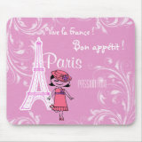 Cute pink and white Paris eiffel tower France Mousepad