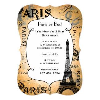 Paris France or Bust Birthday Card