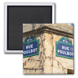 Paris France Rue Poulbot Street signs 2 Inch Square Magnet