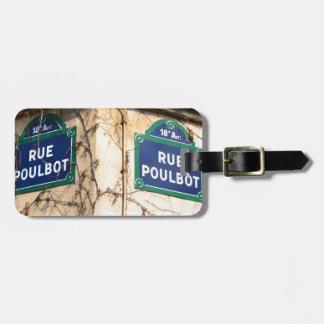 Paris France Rue Poulbot Street signs Bag Tag