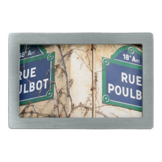 Paris France Rue Poulbot Street signs Belt Buckle