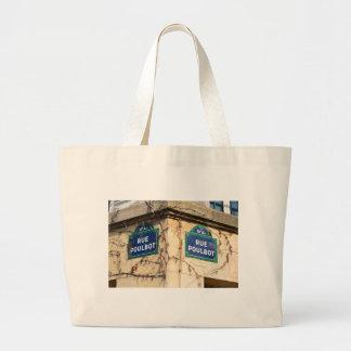 Paris France Rue Poulbot Street signs Large Tote Bag