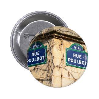Paris France Rue Poulbot Street signs Pinback Button