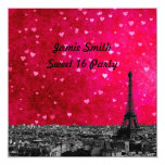 "Paris France Skyline #1 Hot Pink Red Sweet 16 SQ 5.25"" Square Invitation Card"
