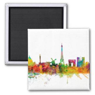 Paris France Skyline 2 Inch Square Magnet