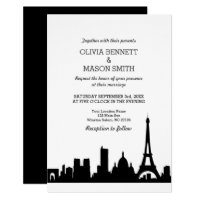 Paris France Skyline Cityscape Wedding Invitation