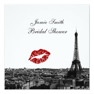 Paris France Skyline Kiss #1 BW Bridal Shower Personalized Invite