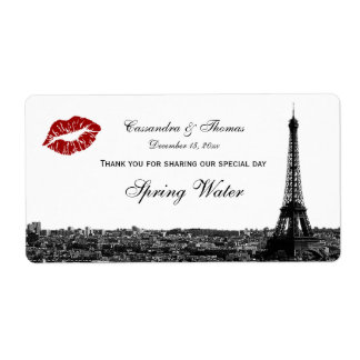 Paris France Skyline Kiss #1 BW H TY Water Bottle Shipping Label