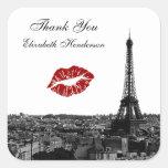 Paris France Skyline Kiss #1 BW Kiss Favor Tag Square Sticker