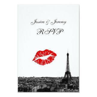 Paris France Skyline Kiss #1 BW RSVP #1 Card