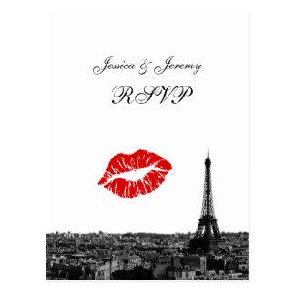 Paris France Skyline Kiss #1 BW RSVP 1 Post Cards